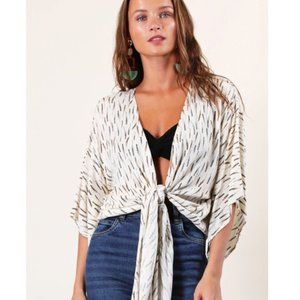 Final Touch Blue Printed Tie Front Batwing Halter